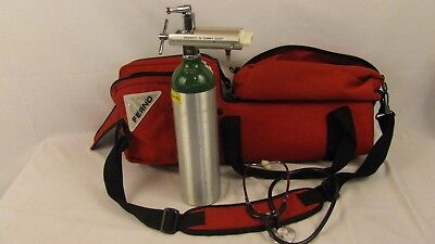 Red FERNO Ambulance EMS EMT Oxygen Tank Bag with First Aid Pouch and Stethoscope