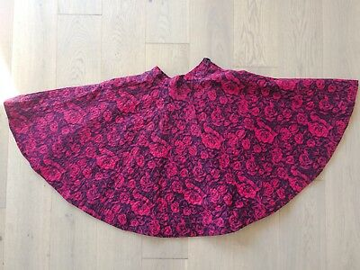 Original Vintage 1950s Quilted Red Rose Romantic Full Circle Skirt