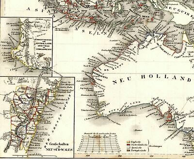 Australia New Holland Van Diemen Land Indonesia NSW 1849 Meyer scarce Tooley map