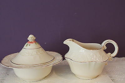 Vintage Crown Ducal England Cream And Covered Sugar - Ivory With Pink Rose