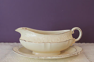 Vintage Crown Ducal Ware England Gravy Boat With Underplate - Rose Design
