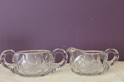 Heavy Cut Glass Cream And Sugar With Flower Design