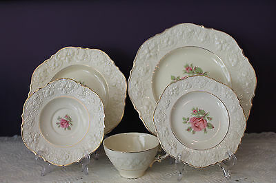 Vintage Crown Ducal England 5 Piece Place Setting - Ivory With Pink Rose
