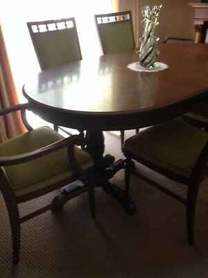 Antique extendable Berryman brand dining Table plus 8 chairs