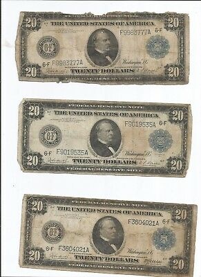 1914 $20 Federal Reserve Note Large Size Bills Atlanta District Lot of Four (4)