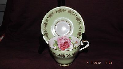 Aynsley Pale Green With Gilt Leafy Trim & HUGE Interior Rose Cup & Saucer Fine!
