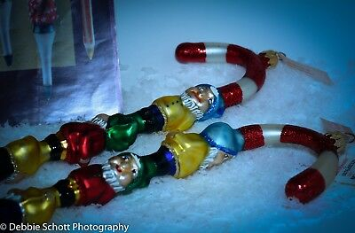 "RETIRED Set of 2 lot Slavic Treasures CANDY CANE TOTEM Collection ELF 15"" PG-061"