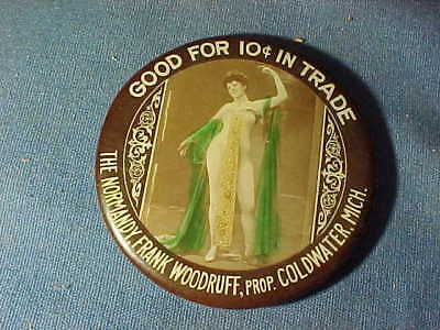 Early 20thc NORMANDY BAR Advertising POCKET MIRROR w Semi NUDE Image