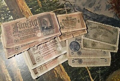 OLD NAZI GERMANY RARE BANKNOTES w/ COIN - 11pc LOT - Vintage WWII Collection!