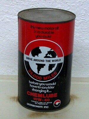 Rare Vintage Chemlube synthetic oil tin can imperial quart display Chatham ON