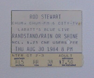 Rod Stewart at the CNE Grandstand Ticket Stub - 1984 RARE Concert Collectible