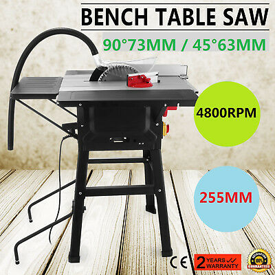 255mm Table Saw with 3 Extensions & Leg Stand Lumberjack  638 x 420mm Bench Top