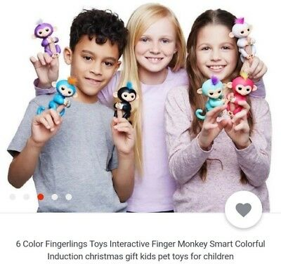 6 Colors WowWee Fingerlings Electronic Interactive Finger Toys Baby Monkey Gifts