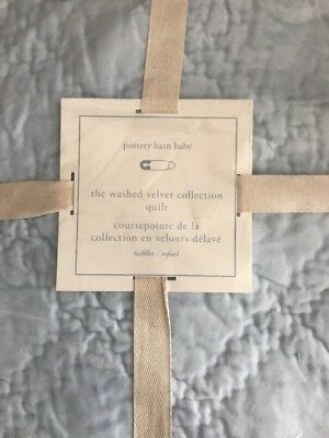 Pottery Barn Kids Washed Velvet Crib Baby Toddler Quilt Sky Blue NEW Nursery