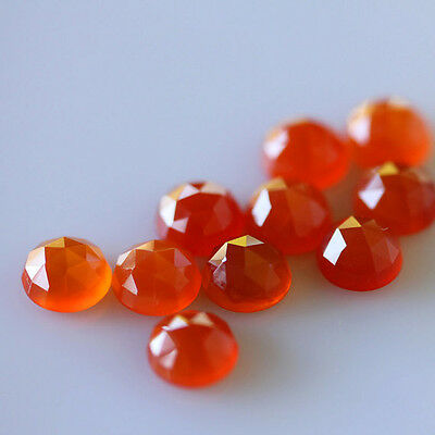 AAA Quality 10 Piece Natural Carnelian 9X9 MM Round Rose Cut Loose Gemstone