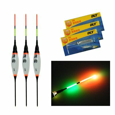 3 Pcs Electric LED Fishing Floats Night Glow Bobbers With Battery Fishing Float