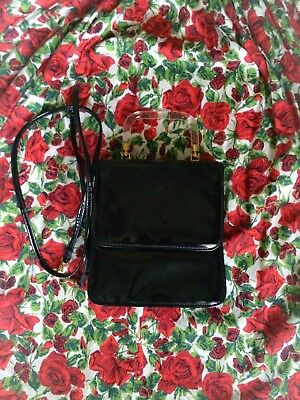 Vintage 60s Black Patent Crossbody Handbag - Lord and Taylor - Lucite Handle