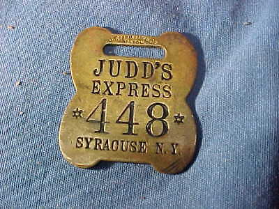 Early 20thc JUDDS EXPRESS Brass RAILROAD BAGGAGE TAG From SYRACUSE NY