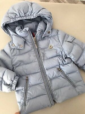 MONCLER Boys Baby Blue Down Puffer coat jacket size 3