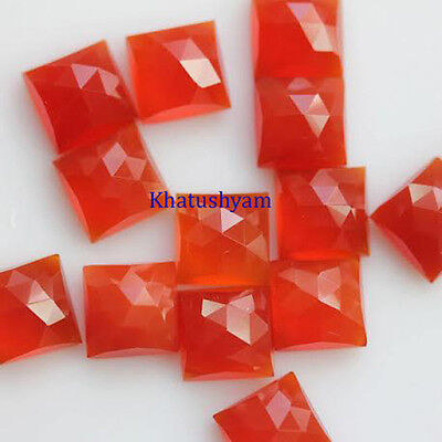 AAA Quality 10 Pieces Natural Carnelian 13x13 mm Square Rose Cut Loose Gemstone