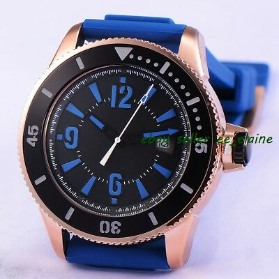 43mm RoseGold PVD Case Mens Auto Watches Black Sterile Dial Blue Rubber Strap 02