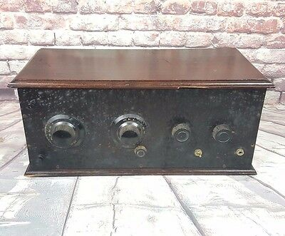Antique 1920s Home Made Coffin Radio Receiver Wooden Box - General Radio Parts
