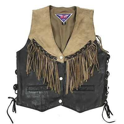 Leather Fringe Vest MOB Motorcycle Small Womens Vintage