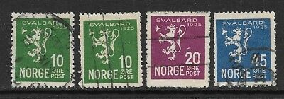 NORWAY 1925 10o, 20o & 45o Svalbard Used Issues Selection (Oct 0090