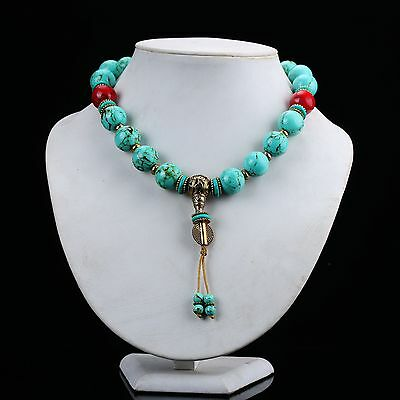 Tibet Turquoise & Red Coral Handwork Prayer Beads Necklace  D865