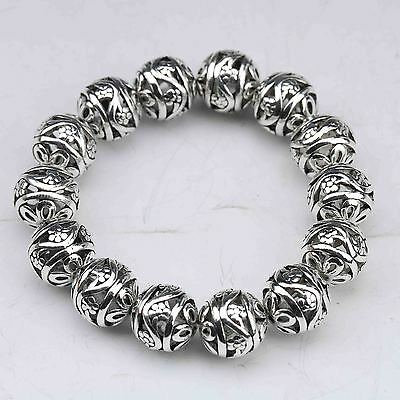 Collectable Tibet Silver Hand Carved Hollow small ball Bracelet  G945