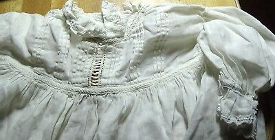 Antique Embroidered Long White Christening Gown circa 1917 baby or doll dress