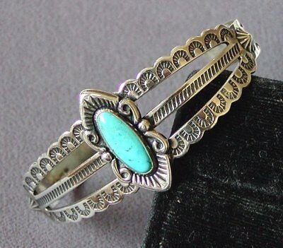 Stunning Estate Vintage Eteched Turquoise Sterling Silver Cuff Bangle Bracelet !