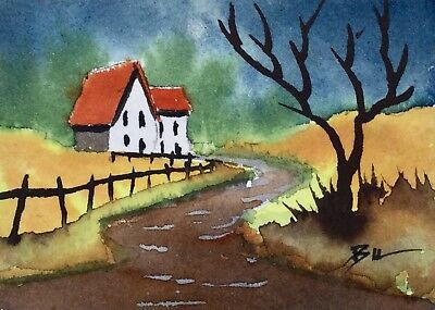 ACEO Original Art Watercolour Painting by Bill Lupton - Farmhouse