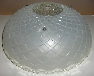 Vintage Textured Frosted & Clear Glass 3 Chain Ceiling Light Fixture Lamp Shade