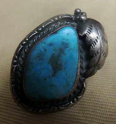 Navajo Gorgeous Natural Turquoise, Stamped Foliate Leaf Ring Size 7