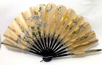 Antique hand painted rice paper/papyrus black lacquer Chinese/Japanese hand fan