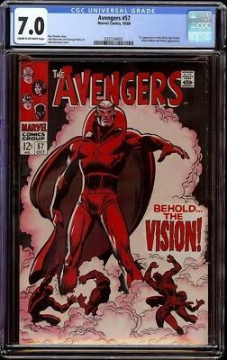 Avengers # 57 CGC 7.0 CRM/OW pages (Marvel, 1968) 1st appearance of Vision