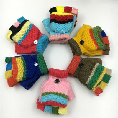 Baby Girl Boy Toddler Kid Winter Warm Knitted Mitten Flip Half Finger Glove d65