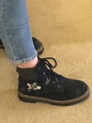 Vintage Leather Suede Ankle Boots Embroidered Chunky Grunge Walking Size 5 6