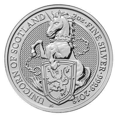 2 oz Silber Queen's Beasts Unicorn of Scotland - Einhorn - Großbritannien 2018