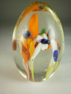 Multicoloured Glass Egg Paperweight