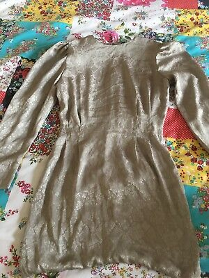Ladies Blouse Top Dress 80's Vintage Gold size 8 padded shoulders