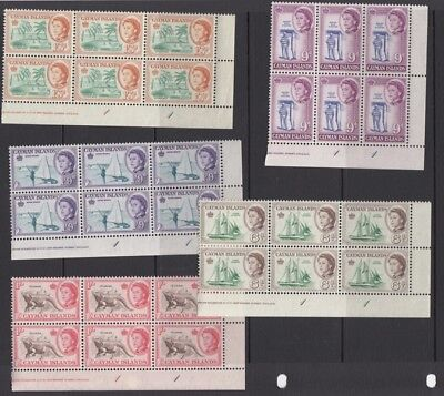 Cayman Islands 1962 SG165-176 in plate blocks x6 - set to 1/9d