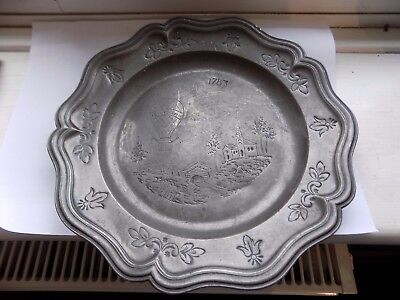 Ornate Antique French 1783 Dated Pewter Dish Hand Chased Montgolfier Balloon