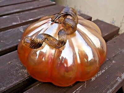 Antique Large Iridescent Carnival Glass Hollow Pumpkin in vgc.