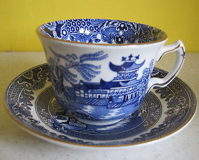 2 Vintage Burleigh Ware Cups And Saucers Willow Pattern Blue And White