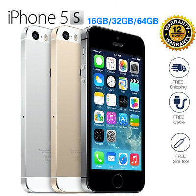 """Apple iPhone 5S/4S 16GB/32GB/64G GSM """"Factory Unlocked"""" 4G LTE Smartphone Silver"""