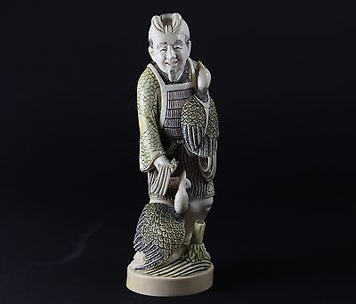 Okimono Man with birds Alte Beinschnitzerei antique Japan
