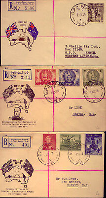 1946  Three  Scarce & Interesting Registered First Day Covers    No  Reserve!!!
