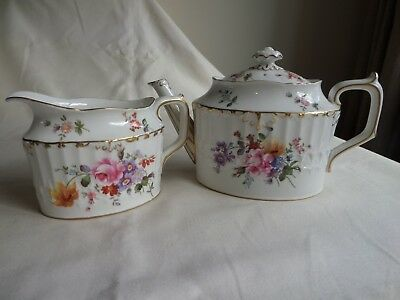 "Royal Crown Derby ""derby Posies"" Teapot And Milk Jug And Gilded"